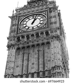 Black and white landmark, Big Ben clock tower London, Westminster Abbey isolated