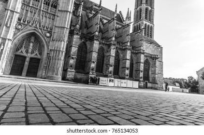 A black and white landmark of famous cathedral in Limoges, France, Europe. This Cathedral is a Roman Catholic church  in the Gothic architectural style. A national monument and the seat of the Bishop