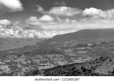 Black and white landscape of mountains among clouds. Colombia