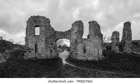 Black and white landscape of Newcastle Emlyn Castle, Camarthenshire, Wales.