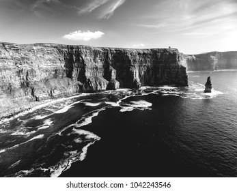 black and white landscape photograph from the cliffs of moher in county clare, ireland