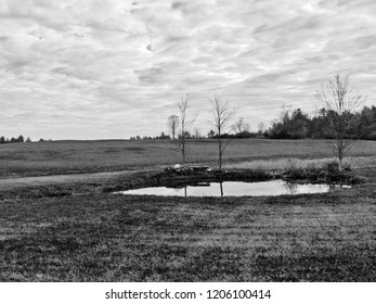Black and white landscape photograph of rural farming countryside with a small oval pond.