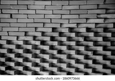 Black and White or Light and shadow on square pattern surface of modern ceiling roof in perspective view