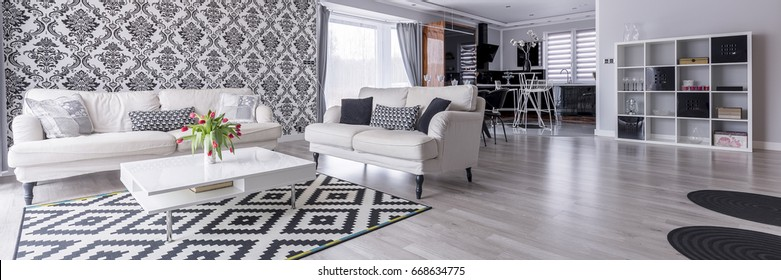 Black and white living room with pattern decoration