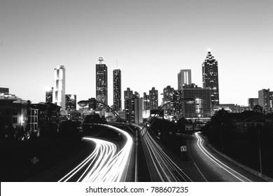 Black and white long exposure of Atlanta skyline at night