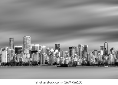 Black and White Long Exposure Image of Downtown Waterfront Vancouver
