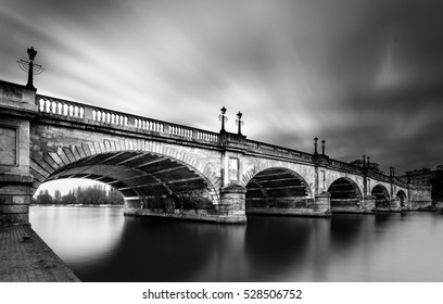 Black and White Long Exposure Photo of Kingston Bridge over the River Thames,   Kingston upon Thames, Surrey, England, UK