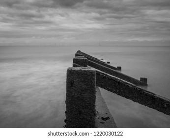 Black and white long exposure of Skegness beach