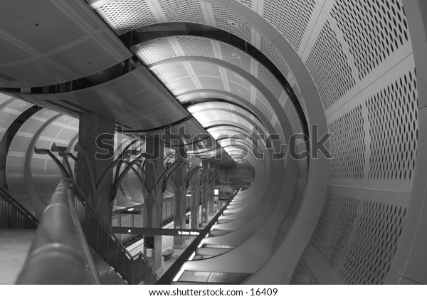 Black and White of Los Angeles Subway Station