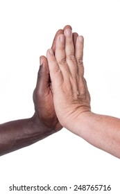black and white male hands high five