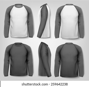 Black and white male long sleeved shirts with sample text. Design template.