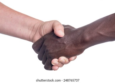 a Black and white man shaking hands