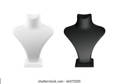 A black and a white mannequin over white background