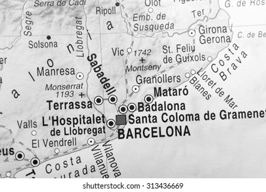 Black and white map view of Barcelona