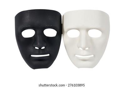 Black and white masks like human behavior isolate on white, conception