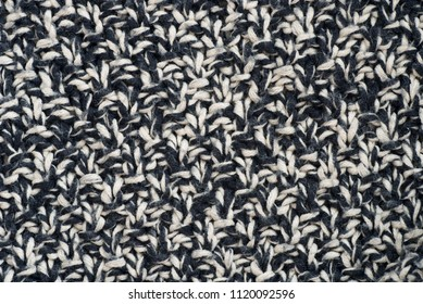 black and white melange knitted background texture macro