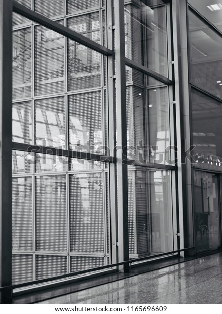Black and white metallic frame of an interior building isolated unique photo