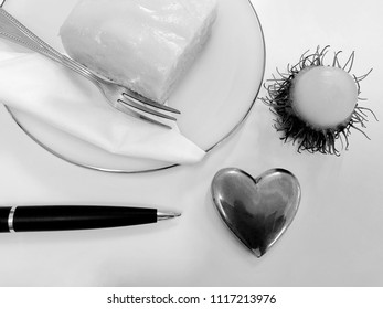 Black and white minimal art photography on food fruit on table