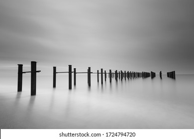 Black and white minimalist seascape, daytime long exposure, Antalya, Lara Beach, Turkey