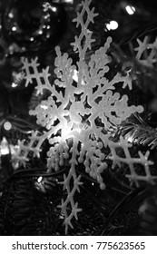 Black and White Monochrome Snowflake Christmas Tree Ornament