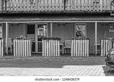 black and white, Motel terrace on the highway