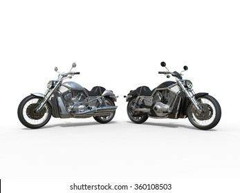 Black and White Motorcycles Side by Side
