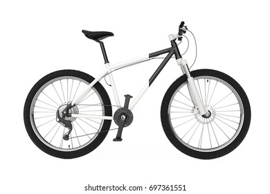 Black and White Mountain Bike on a white background. 3d Rendering