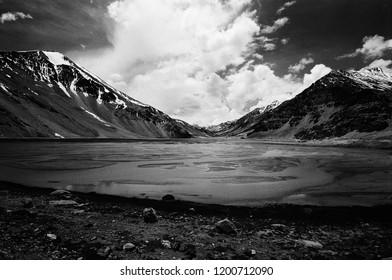 Black & White Mountain View on Manali - Leh Highway, North India / Taken with film.