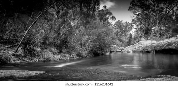 Black and White ND, Megalong valley creek bed, Blue Mountains, NSW, Australia.