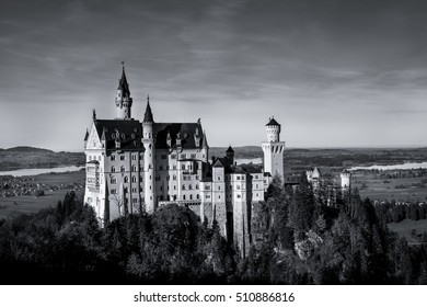 Black and White of Neuschwanstein Castle (Schloss), which was built in 19th Century