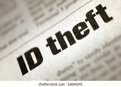 "Black and White Newspaper Headline stating ""Identity Theft"""