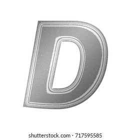 Black and white newsprint style uppercase or capital letter D in a an illustration with a gray newspaper effect and paper texture basic bold font isolated on a white background with clipping path.