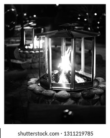 Black and white night firepit nightscape