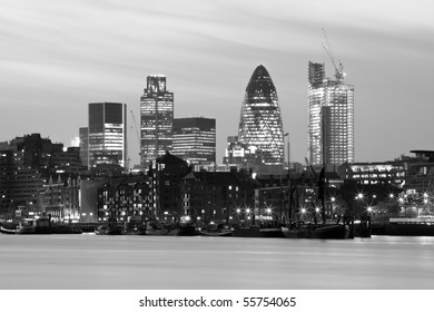 Black and white night shot of the city of London