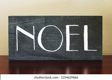 Black and white Noel rustic wooden sign