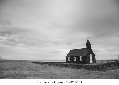 Black and white nordic church