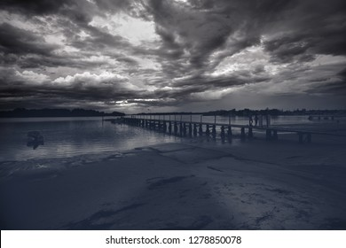 Black and white ocean scenery - Clarence River sunrise Yamba NSW Australia