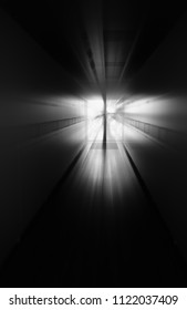 Black and white office corridor with dramatic light background