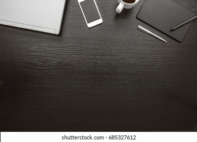 Black white office desk business background