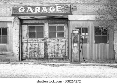 Black and white old fashioned service station in rural Utah, USA.