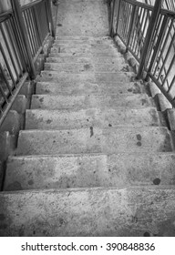 black and white old stair