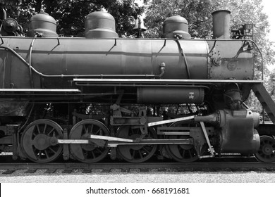 black and white, old steam train detail picture