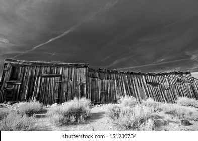 Black and white old wooden warehouse in ghost town