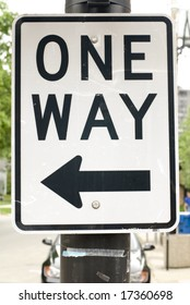 Black & white 'One Way' street sign