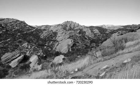 Black and white panorama of desert geology, California