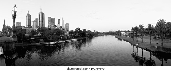 black and white panorama of melbourne on a cloudy day