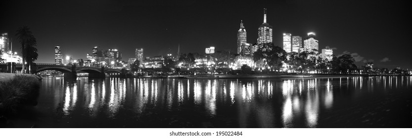 black and white panorama of melbourne on a clear night