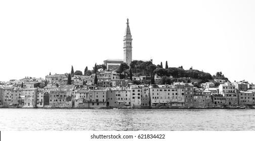 Black and white panorama of Rovinj in Istra, Croatia