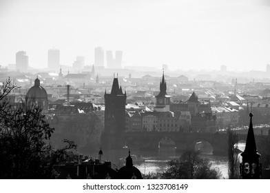 Black and white panorama view to Prague. New scycrapers behind the Old Town. Prague view to architecture and bridges across the river Vltava