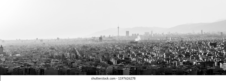 Black and white panoramic skyline of Tehran-Iran. Cityscape of Tehran.
